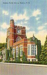 Nashua, NH public library on linen finish postcard