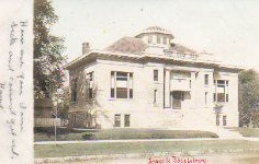 Jerseyville, IL, Carnegie library on tinted postcard