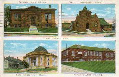 Two Harbors, MN multiview postcard with Carnegie library at upper left