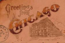 Chicago Public Library on leather postcard