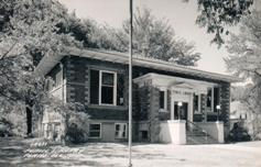 Plano, IL photo postcard of its Carnegie library