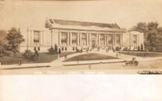 Crose photo postcard of the Gary (IN) Carnegie library
