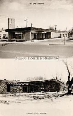 Mid-Century Modern architecture featured on a photo postcard of Marshfield, WI.