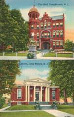 Long Branch, NJ postcard with city hall on the top half, and the Carnegie library on the bottom.