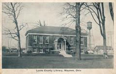 Lucas Co. Library, with watertower to right.