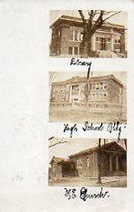RPPC of Grayville's Library, High School, and a church.