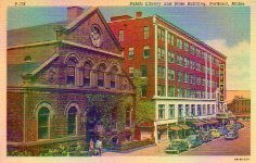 Linen finish postcard featuring the Portland, ME library and the State building