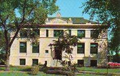 Hammond, IN Carnegie library, photochrom postcard