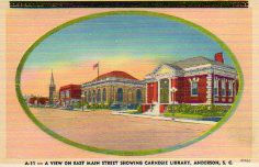 Linen finish postcard with errata. Features the Anderson, SC Carnegie library