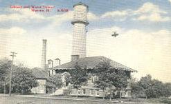 Warren, IL Carnegie library, plus water tower