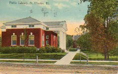 View of St. Charles, IL Carnegie library as seen from Illinois Rt. 25
