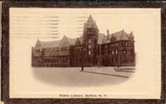 Buffalo, NY public library on self-framed postcard