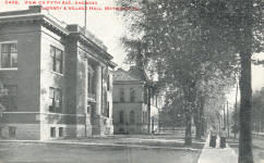 Maywood, IL Carnegie library and city hall in background
