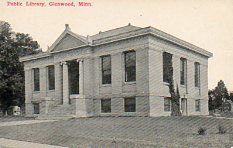 Postcard featuring the Glenwood, MN Carnegie library