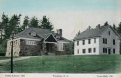 Windham, NH with 1898 library at left and 1798 town hall at right