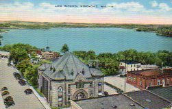Bird's Eye View of Menomin Lake & Library, Menominee, WI