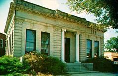 Montezuma, GA Carnegie library on chrome postcard