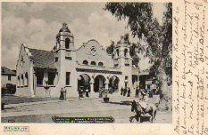 Riverside, CA Carnegie library on postcard commemorating Theodore Roosevelt's visit.