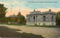 Postcard of Beatric, Nebraska showing its Carnegie library and the central school.