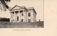 Early monochrome postcard of Hoopeston, IL Carnegie library