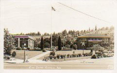 The Carnegie Library is on the right of this Chehalis, WI photo postcard.