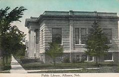 Side view of Alma, NE Carnegie library