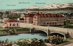 Early scenic view of Reno, NV, with library at left.