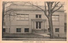 Albertype postcard of the Mansfield, PA's Carnegie library.
