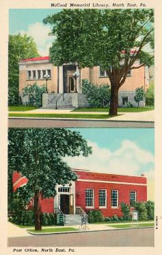 North East, PA. Top is the McCord Memorial Library: bottom is the post office