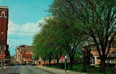 """Downtown Roanoke, VA, looking north on Jefferson St., with the Main Branch o the Roanoke Public Library in the foreground."""