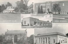 Monochrome 'Pefect Circle' company postcard featuring city scenes, including the public library