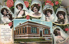 'Our Belles' Tuck postcard of Alexandria, Louisiana's Carnegie library