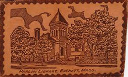 Parlin Memorial Library, Everett, MA, on a leather postcard