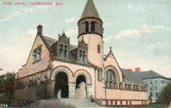 Cambridge, MA public library in Richardsonian Romanesque style