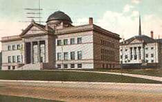 Rockford, Illinois' Carnegie library, with Memorial Hall in the background.