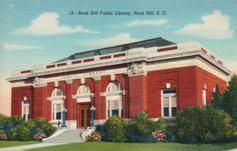 Rock Hill, SC library. Red brick neo-Classical building.