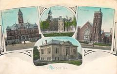 Multiview postcard of Robinson, IL