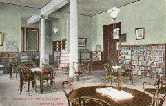 Interior seating area of the Janesville, WI Carnegie library. Note the bentwood chairs.