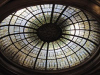 Glass oculus below dome of Lincoln, IL Carnegie library