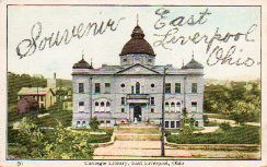 East Liverpool, OH Carnegie library; card decorated with glitter.