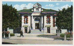 Marion, OH Carnegie library with strolling men.