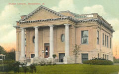 Tinted postcard of Hoopeston, IL Carnegie library