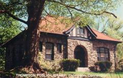 Thompson, CT public library, built of stone with half-timbering.