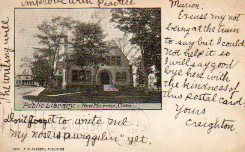 New Milford, CT public library on an early postcard