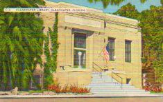 Clearwater, FL Carnegie library on linen-finish postcard