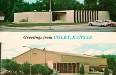 Top: Pioneer Memorical Library. Bottom: Colby Community Building.