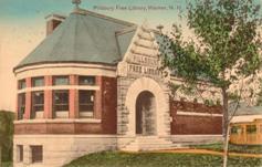 Handcolored German postcard of the Pillsbury Free Library in Warner, NH