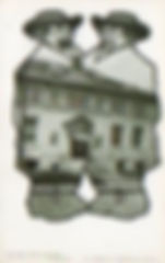 Men in hats, bodies in outline, filled by cropped image of the Huntington, IN Carnegie library