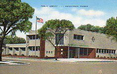 Hutchinson, KS 1946 public library on linen postcard