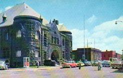 Mabel Tainter Memorial Building, street scene, Menomonie, WI